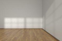 Hoek van witte lege ruimte met parketvloer Stock Afbeeldingen