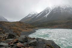 Hoeker Valley Ice Lake On A Rain Day, New Zealand Stock Image