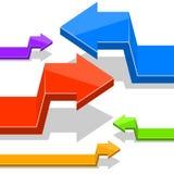 Hoekige 3D pijlen Stock Afbeelding