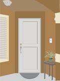 Hoekige deuropeningsingang in de bouw met installatie, Royalty-vrije Stock Afbeelding