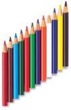 Hoekige rij van de kleurings kleurende potloden van kinderen Royalty-vrije Stock Foto's