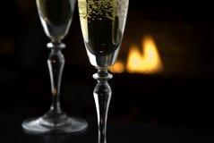 Hoekje bij de haard Champagne 1 Stock Fotografie