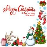 Hoekkader met Kerstmispictogrammen Stock Afbeelding