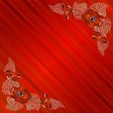 Hoekkader met papavers op rode achtergrond met stock illustratie
