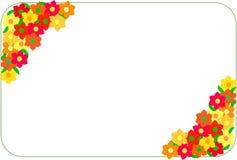 Hoekkader van rode en gele bloemen wordt gemaakt die Royalty-vrije Stock Afbeelding