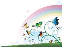 Hoekornament met Vlinders op een Tak royalty-vrije illustratie