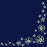 Hoekpatroon van met de hand gemaakte document sneeuwvlokken in het quilling wordt gemaakt tec die Royalty-vrije Stock Fotografie