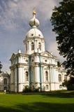 Hoektoren van Smolny-Kathedraal in St. Petersburg, Rusland Royalty-vrije Stock Foto's