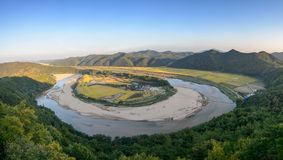 Hoeryongpo betrenched meander Stock Images