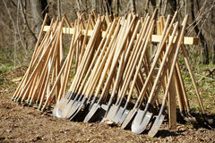 Hoes and shovels. Stack of shovels and hoes before afforestation Stock Image