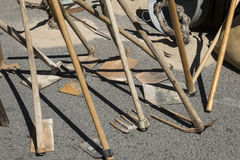 Hoes. Tools that have always been used in agricultural work Royalty Free Stock Images
