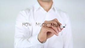 Hoeveel meer? , Zakenman Writing op Glas stock afbeelding