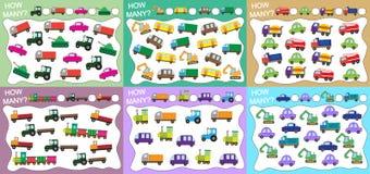 Hoeveel objecten het vervoer telde? Reeks onderwijsspelen voor jonge geitjes 6 in 1 Vector illustratie royalty-vrije illustratie