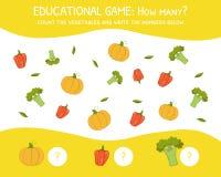 Hoeveel, Onderwijsspel voor Peuterkinderen, Ontwikkeling van Wiskundige Capaciteiten, de Groenten tel en schrijf royalty-vrije illustratie