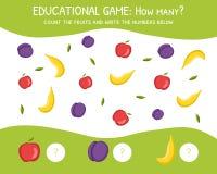 Hoeveel, Onderwijsspel voor Peuterkinderen, Ontwikkeling van Wiskundige Capaciteiten, de Vruchten tel en schrijf stock illustratie