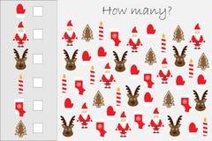 Hoeveel tellend spel met Kerstmisbeelden voor jonge geitjes, onderwijswiskundetaak voor de ontwikkeling van het logische denken,  vector illustratie