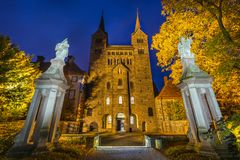Hoexter Tyskland - Oktober 30, 2016: Imperialistisk abbotskloster av Corvey i norr Rhen-Westphalia Arkivfoto