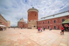 Hof des königlichen Schlosses im Stadtzentrum von Lublin Stockfotografie