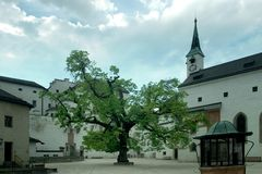 Hof des Salzburg-Schlosses Lizenzfreie Stockbilder