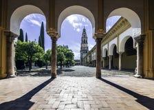 Hof van de oranje bomen, Moskee van Cordova stock afbeeldingen