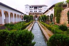 Hof van het Waterkanaal in Generalife granada royalty-vrije stock foto's
