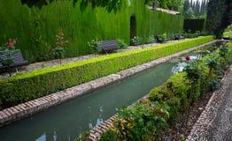 Hof van het Waterkanaal in Generalife Granada, Spanje royalty-vrije stock foto's