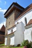 Hof von verstärkt, Sachse, mittelalterliche Kirche im Dorf Viscri, Siebenbürgen Lizenzfreies Stockfoto