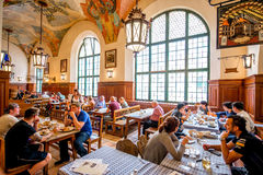 Hofbrauhaus interior in Munich Stock Images