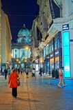 Hofburg圣迈克尔翼的人们在晚上维也纳 免版税库存照片