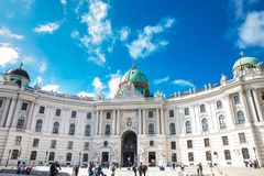 The Hofburg the official residence and workplace of the President of Austria which was the principal imperial palace of the Habsbu. VIENNA, AUSTRIA - APRIL, 2018 royalty free stock images