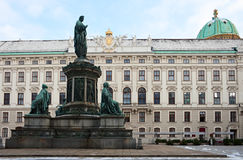 Hofburg Palace. In der Burg squares with the statue of Emperor Franz of the Hofburg Palace, Vienna. Austria Royalty Free Stock Photo
