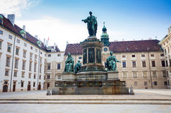 Hofburg Palace courtyard with Emperor Franz I monument Royalty Free Stock Photos