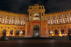 Hofburg Palace entrance, at night - landmark attraction in Vienna, Austria. Hofburg Palace entrance (Neue Burg section), at night - landmark attraction Royalty Free Stock Photo