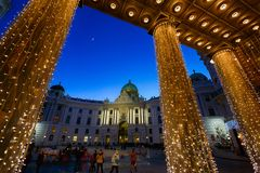 Hofburg Palace between garlands in Vienna Stock Photos