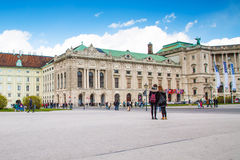 Hofburg palace and tourists near it in Vienna Royalty Free Stock Photography