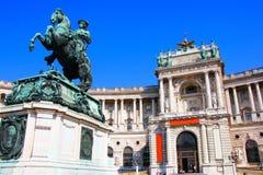 Hofburg Palace, Vienna. Hofburg Palace and statue Prince Eugene of Savoy, Vienna, Austria Stock Photography