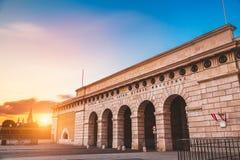 Hofburg slottport på på solnedgången i Wien Fotografering för Bildbyråer
