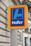 Hofer-Supermarkt, Österreich stockfotos