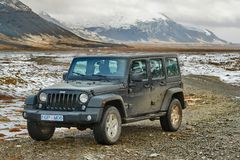 Jeep Wrangler on Icelandic terrain royalty free stock images