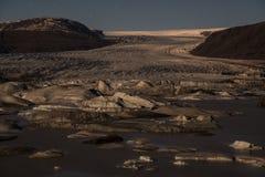Hoffellsjokull lodowiec w blask księżyca obrazy stock