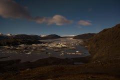 Hoffellsjokull lodowiec w blask ksi??yca zdjęcia stock