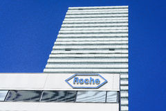 Hoffmann La Roche headquarters in Basel, Switzerland. Very high resolution, 42.2 megapixels. Office building at the headquarter of the Swiss global health-care stock photography