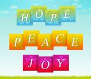 Hoffnung, Frieden, Freude stock abbildung