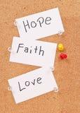 Hoffnung, Glaube und Liebe Stockfotos