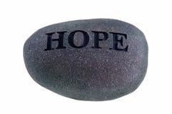 Hoffnung graviert auf Felsen Stockfotos