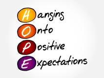 HOFFNUNG - Hängen auf positive Erwartungen Lizenzfreie Stockfotografie