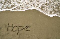 Hoffnung im Sand Stockfoto