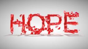 Hoffnung ist verloren. Wortzerstörung Stockfotografie