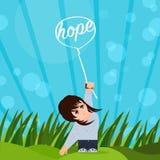 Hoffnung strahlt mich oben Stockbild