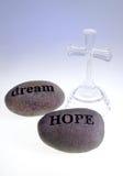 Hoffnung u. Traum geschnitzte Felsen Stockbilder